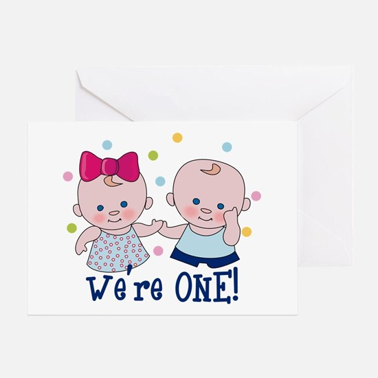 Twins first birthday greeting cards cafepress were one boy girl greeting card bookmarktalkfo Image collections