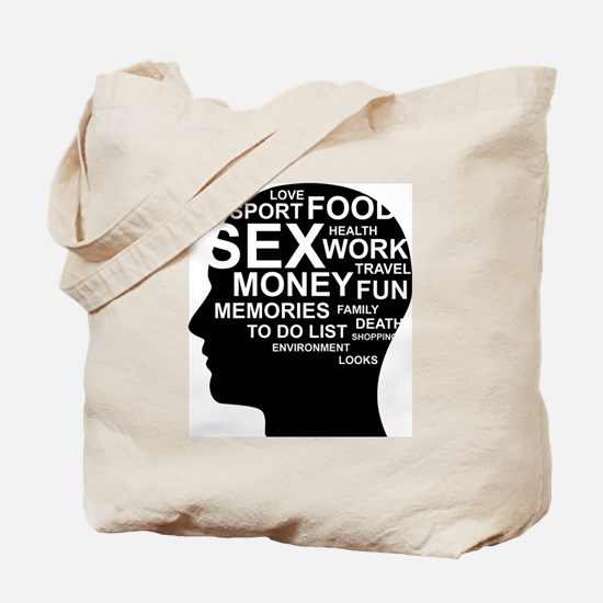 What's on man mind Brain Thoughts Sex Mon Tote Bag