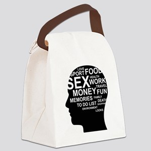 What's on man mind Brain Thoughts Canvas Lunch Bag