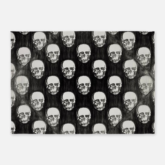 Black and White Skulls Drawing 5'x7'Area Rug