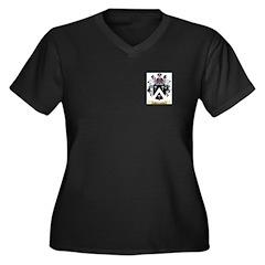 MacCombie Women's Plus Size V-Neck Dark T-Shirt