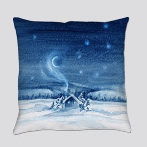 little cabin frosty night Everyday Pillow