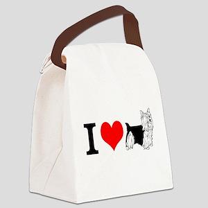 I Love Yorkies Canvas Lunch Bag