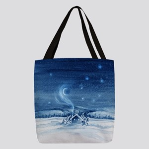 Little Cabin Frosty Night Polyester Tote Bag