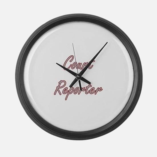 Court Reporter Artistic Job Desig Large Wall Clock