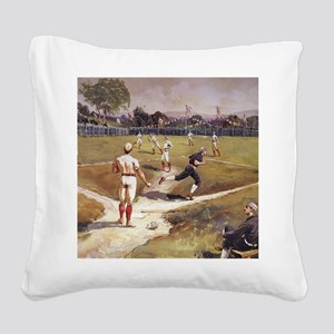Vintage Sports Baseball Square Canvas Pillow