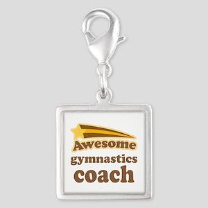 Awesome Gymnastics Coach Silver Square Charm