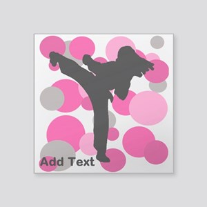 "Karate Girl Square Sticker 3"" x 3"""
