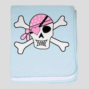 Pink Pirate Skull and Crossbones baby blanket