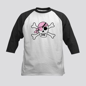 Pink Pirate Skull and Crossbones Baseball Jersey