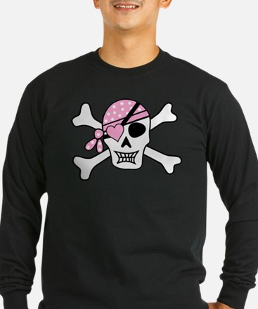 Pink Pirate Skull and Crossbon Long Sleeve T-Shirt