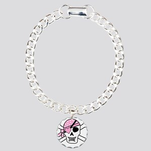 Pink Pirate Skull and Cr Charm Bracelet, One Charm