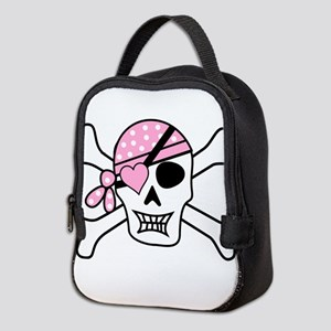 Pink Pirate Skull and Crossbone Neoprene Lunch Bag