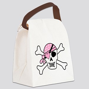Pink Pirate Skull and Crossbones Canvas Lunch Bag
