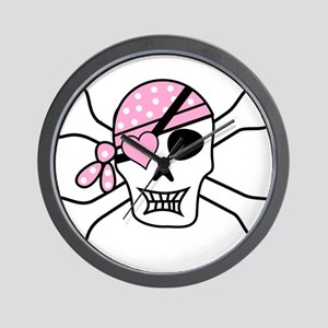 Pink Pirate Skull and Crossbones Wall Clock