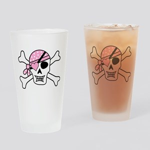 Pink Pirate Skull and Crossbones Drinking Glass