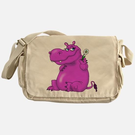 Purple Hippo Messenger Bag