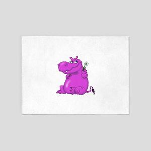 Purple Hippo 5'x7'Area Rug