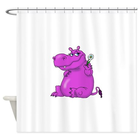 Purple Hippo Shower Curtain By Admin CP66436521