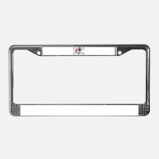 Pink Pirate Skull and Crossbon License Plate Frame