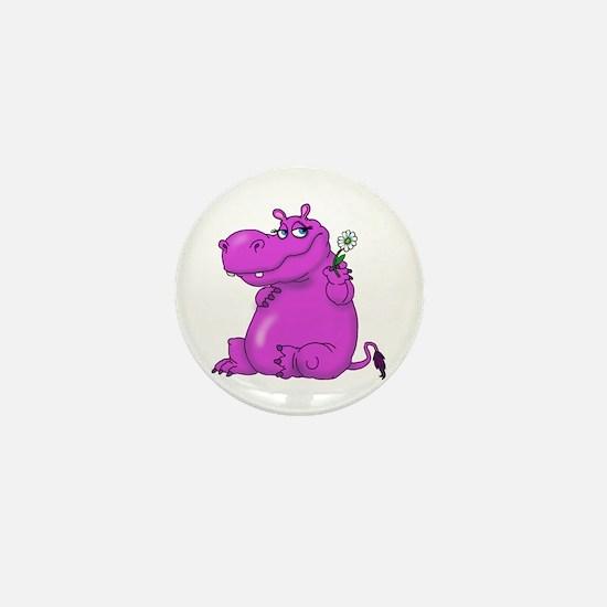 Purple Hippo Mini Button