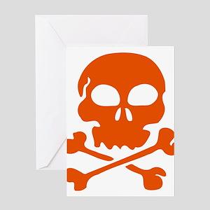 Orange skull and crossbones Greeting Cards