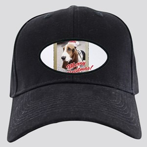 Basset Hound Christmas Black Cap with Patch