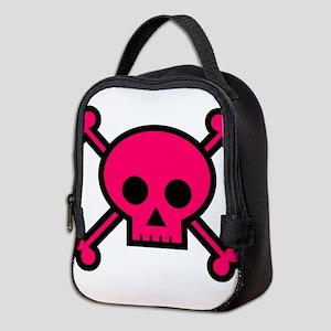 Hot pink skull and crossbones Neoprene Lunch Bag