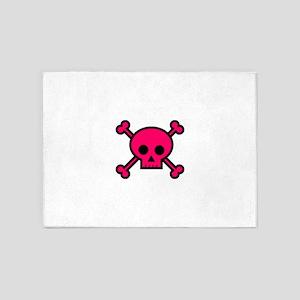 Hot pink skull and crossbones 5'x7'Area Rug