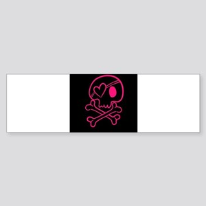 Hot pink and black skull with heart Bumper Sticker