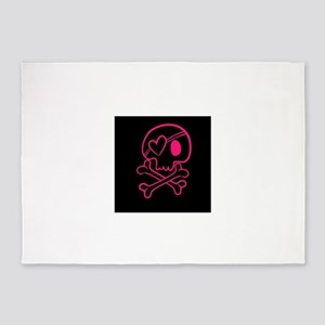 Hot pink and black skull with heart 5'x7'Area Rug