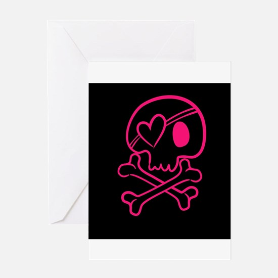 Hot pink and black skull with heart Greeting Cards