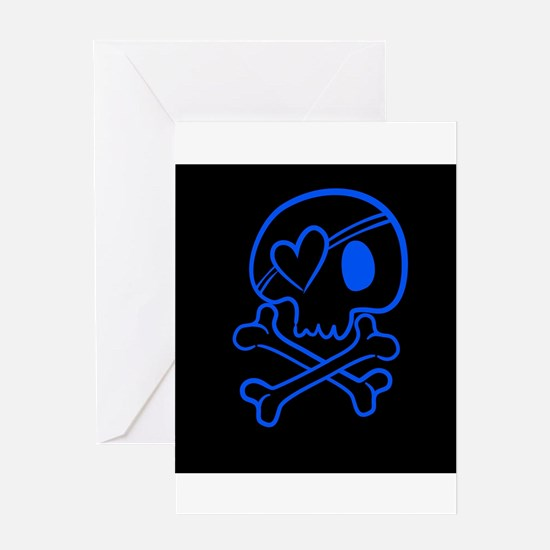 Bright blue and black skull with he Greeting Cards