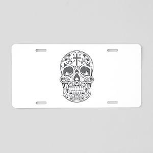 SugarSkull Grey-01 Aluminum License Plate