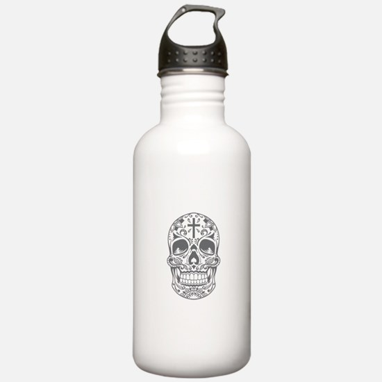 SugarSkull Grey-01 Water Bottle