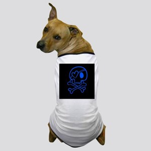 Bright blue and black skull with heart Dog T-Shirt