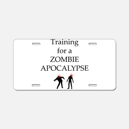 Training for Zombie Aluminum License Plate