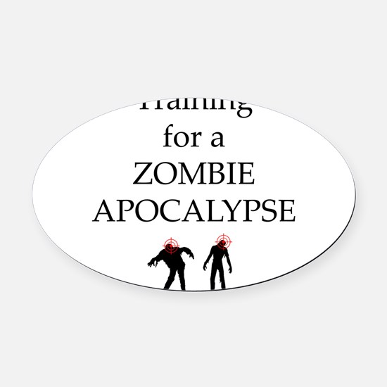 Training for Zombie Oval Car Magnet