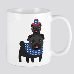Patriotic Pugs - Black Pug Mug