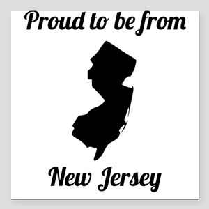 """Proud To Be From New Jersey Square Car Magnet 3"""" x"""