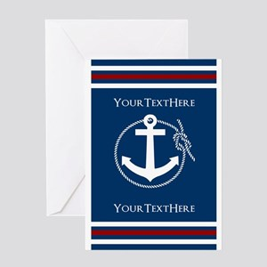 Navy Nautical Anchor and Rope Personalized Greetin