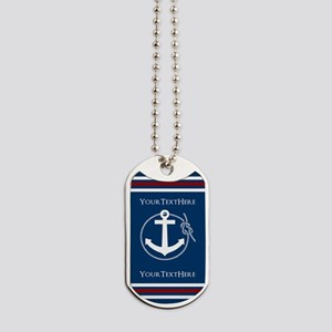Navy Nautical Anchor and Rope Personalized Dog Tag