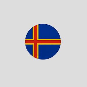 Square Aaland Islands Flag Mini Button