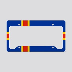 Square Aaland Islands Flag License Plate Holder