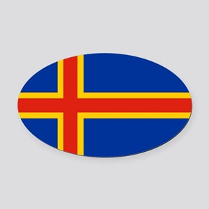 Square Aaland Islands Flag Oval Car Magnet