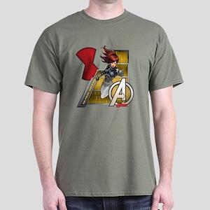 The Avengers Black Widow Flying Dark T-Shirt
