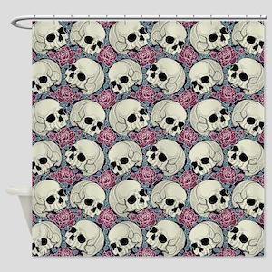 Sugar Skull Pattern Roses Shower Curtain