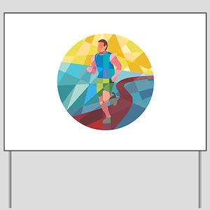 Marathon Runner In Action Circle Low Polygon Yard