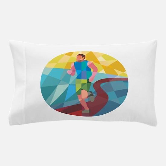 Marathon Runner In Action Circle Low Polygon Pillo
