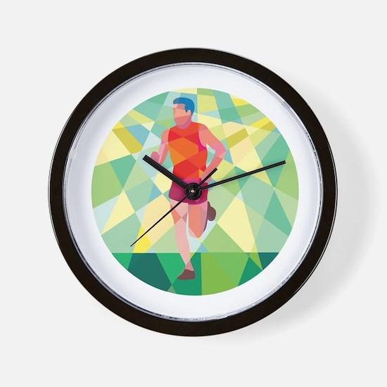 Marathon Runner Running Circle Low Polygon Wall Cl